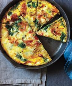 Potato, Ham, and Spinach Frittata - Swap half the eggs with Egg Beaters to lighten up a bit. Less cheese.