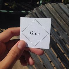 Silk laminated business cards with gold foil stamp and spot uv gloss 24pt white stipple square business cards for vancouver designerproducer gina mackay reheart Image collections