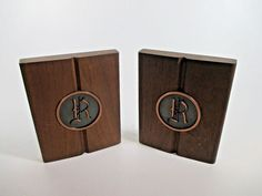 "Vtg Set of 2 Walnut Monogram Bookends w/ Metal Base Initial ""R"" MCM Mid Century"