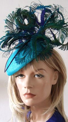 "Turquoise Blue Green Peacock Ostrich and Pheasant Feathered Beret Headpiece Hat ""Marissa"" Pheasant Feathers, Ostrich Feathers, Peacock Feathers, Flapper Headband, Headpiece, Races Fashion, Fashion Outfits, Ascot Style, Ascot Dresses"