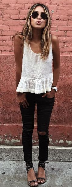 #spring #outfits  White Lace Tank & Black Ripped Skinny Jeans