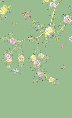 Our Products - David Qian Hand Painted Wallpaper, My First Apartment, Botanical Flowers, William Morris, Contemporary Interior, Sketching, Backdrops, David, Colours