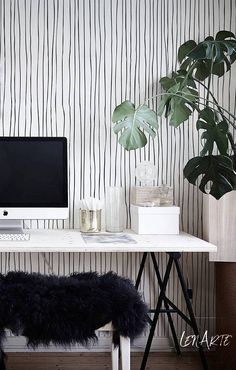 Blurred Lines Wallpaper  Black and White Pattern  Removable   Etsy