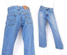 Vintage 90s Levi's 577 Mid Rise Boyfriend Jeans - Size 6 Short - Women's Stonewashed Blue Denim Loose Fit Straight Leg Grunge Jeans