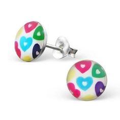 Hearts Multi Colours Logo Studs - Silver Earrings