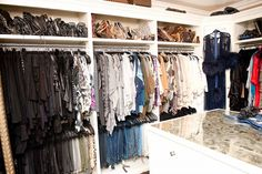 Every week I have a day where I just focus on making sure that all my clothes remain organized. I have all of my shirts and dresses facing the same way and my jeans are all folded and hung the same way.  Khloe Kardashian's clothes closet