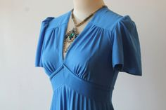 70s Blue Evening Dress Vintage Made In France by TequilaCloset, $98.00