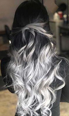33 blonde or caramel sweeping ideas for gorgeous hair - HAIR - Hair Color Cute Hair Colors, Pretty Hair Color, Hair Dye Colors, Ombre Hair Color, Ombre Silver Hair, Silver Hair Colors, Long Hair Colors, Brown And Silver Hair, Long Silver Hair