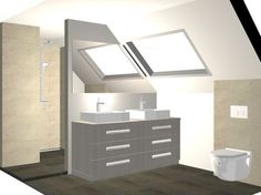 badkamer onder schuin plafond - Dagmar Buysse: