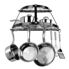 Have to have it. Double Shelf Wall Mount Black Pot Rack $59.98
