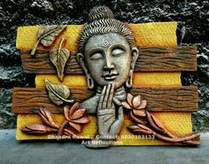 """Silence is the true friend that never betrays.""     ~   Confucius  ♥ lis Mural Painting, Buddha Painting, Mural Art, Fabric Painting, 3d Wall Art, Clay Wall Art, Indian Folk Art, Buddha Art, Art Corner"