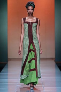 Coming up after the fabulous show from Mustafa Hassanali is South Africa's own Bongiwe Walaza for the Mercedes-Benz Fashion Week Africa With hues of - Jennifer Obiuwevbi. African Inspired Clothing, African Print Fashion, Africa Fashion, Ethnic Fashion, African Prints, Men's Fashion, African Attire, African Wear, African Women