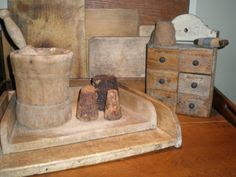 Mortar and pestle, pastry boards and more primitives....