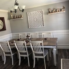 Discover recipes, home ideas, style inspiration and other ideas to try. Dining Room Paint Colors, Room Wall Colors, Dining Room Wall Decor, Room Decor, Dining Room Wainscoting, Dining Room Inspiration, Upholstered Dining Chairs, Room Chairs, Ikea