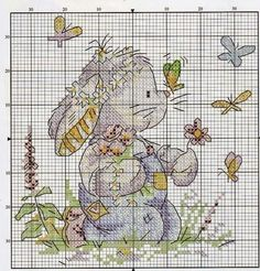 Hobby lavori femminili - ricamo - uncinetto - maglia: Coniglietto con farfalle punto croce