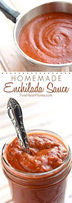 Homemade Red Enchilada Sauce _ is all-natural, quick and easy to make, full of flavor, and as mild or spicy as you prefer! - Adapted from Cook's Illustrated. Recipes With Enchilada Sauce, Homemade Enchilada Sauce, Homemade Enchiladas, Red Enchilada Sauce, Homemade Sauce, Sauce Recipes, Cooking Recipes, Copycat Recipes, Mexican Dishes