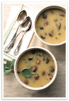 White Bean and Roasted Mushroom Soup - looks like a perfect Sunday Supper dish!