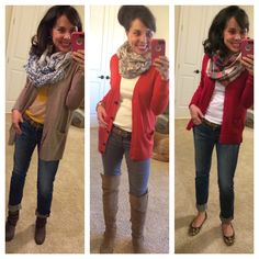 Jeans, a cardi, and a scarf. The PERFECT fall outfit that is super easy to throw together, but you will look fab!