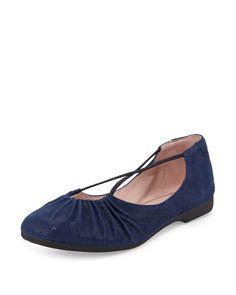 Bryan Ruched Crisscross Ballerina Flat, Medium Blue, Size: 40.5B/10.5B - Taryn Rose