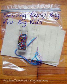 Kitchen Floor Crafts: Busy Bags for School Aged Children