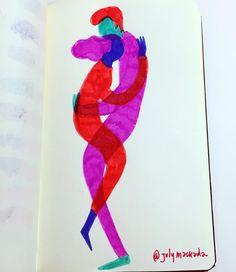 Entrelazados una variación a mi antigua libreta de follajes. El color se ha instalado acá!! #ilustracion #sketchbook