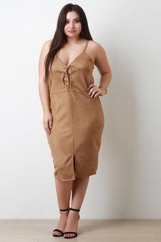 Vegan Suede Lace Up Bodice Sleeveless Dress – Style Lavish