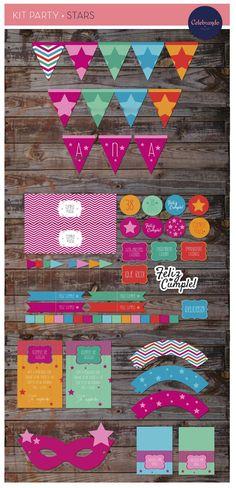 Kit imprimible Estrellas (stars) Celebrando Fiestas