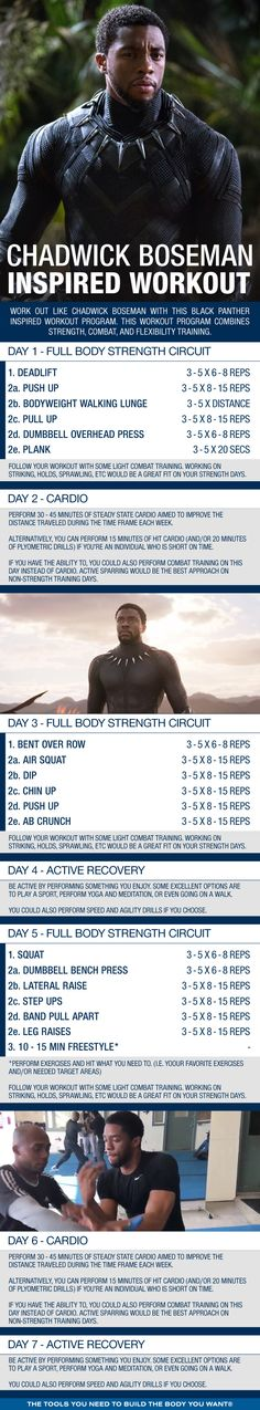 Work out like Chadwick Boseman with this Black Panther Inspired Workout Program. This workout program combines strength, combat, and flexibility training. Flexibility Training, Strength Training Workouts, Gym Training, Basic Workout, Workout Days, Fun Workouts, Workout Routines, Fitness Motivation, Gym Fitness
