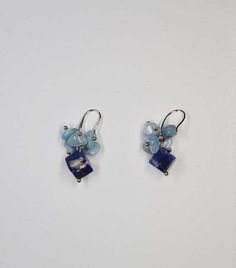 Earrings with Blue Sodalite square shape beads and   Blue Aquamarine Chips