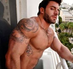 Muscular, sexy man with beard and tattoos (hot men, sexy men). Hunks Men, Hot Hunks, Hot Tattoos, Tattoos For Guys, Tatoos, Tattoo Guys, Tattoo Art, Inked Men, Hairy Men