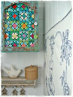 What to do when faced with an old cabinet minus its glass - create a visual delight.