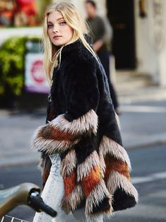 Elsa Hosk - Free People Chevron Fur Coat at Free People Clothing Boutique - Inspired by decades past, this statement faux fur coat features a contrast chevron design. Hidden hook-and-eye closure and hip pockets. Mode Hippie, 70s Mode, Estilo Hippie, Street Style, Fur Fashion, Bohemian Fashion, Lolita Fashion, Bohemian Style, Fashion Dresses