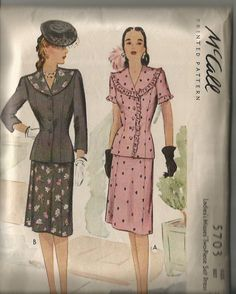 Vintage 1940's Two Piece Dress or Suit Pattern McCall 5703 38 Bust Uncut by CircaSewingPatterns on Etsy https://www.etsy.com/listing/101245389/vintage-1940s-two-piece-dress-or-suit