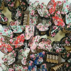 """48pcs Hair Snap Clamp Clip Claw Flower Print Paisley Scallop Wholesale Lots 1.5"""" #Unbranded"""
