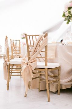 elegant pink and gold wedding chair sash ideas