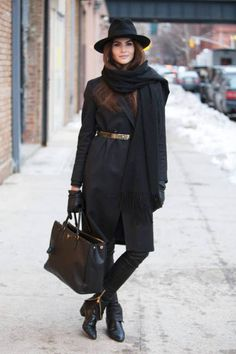 The hat is gorgeous and the bag very stylish I also like the little belt that goes around the coat, the boots are a bit cowboy retro but very nice