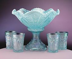 Fenton Glass Hobstar Puff Aquamarine Opalescent Punch Bowl Set, Mom would love this color Fenton Glassware, Antique Glassware, Dining Ware, Pink Milk, Punch Bowl Set, Glass Company, Vintage Dishes, Carnival Glass, Glass Collection