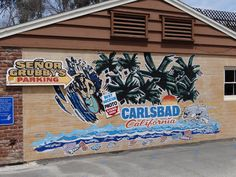 Wall mural at Senor Grubby's restaurant in downtown Carlsbad Village, Carlsbad California