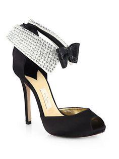 Kate Spade New York - Satin Black Tie Tuxedo Sandals