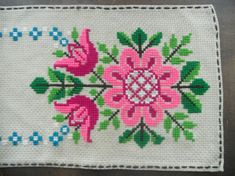 Vintage Swedish table runner Bright floral runner Pink green embroidered runner Cross stitched runner