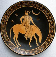 Selene, the Moon, riding a horse in the night. Ancient Greece For Kids, Ancient Greek Art, Minoan Art, Romanesque Art, Roman Gods, Greek Pottery, Esoteric Art, Pagan Art, Greek And Roman Mythology