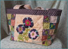 Belline - La petite boutique de Patchnath. . . . . Stitched little flower on little square patchwork
