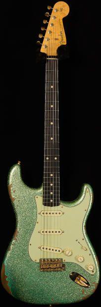 "Fender Custom Shop Dealer Select Wildwood ""10"" '61 Strat Heavy Relic Faded Sea Foam Green Sparkle | Reverb"