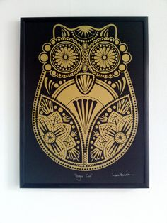 Gold Sugar Owl Screen Print by liwbanks on Etsy. £25.00, via Etsy.