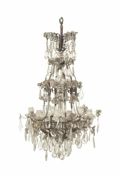 A PAIR OF FRENCH GILT METAL AND CUT GLASS SIX-LIGHT CHANDELIERS, 20TH CENTURY Modern Chandelier, Chandelier, Hanging Lights, Chandelier Lighting, Beautiful Chandelier, Chandelier Lamp, Mirror Lamp, Lantern Lamp, Lantern Chandelier