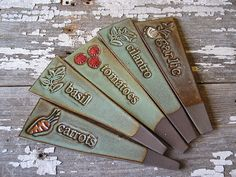 Plant Markers Set of 5  Garden Stake  by BRobertsonPottery on Etsy
