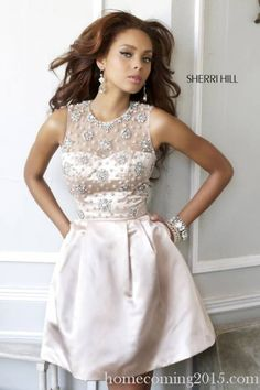 Nude Sherri Hill 21323 Beaded A Line Babydoll Dress