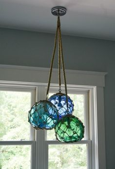 Glass Fishing Float Cluster Pendant Light, with 3 Floats and rope covered chains - All For Decoration Coastal Style, Coastal Decor, Coastal Colors, Coastal Living, Glass Floats, Deck Lighting, Lighting Ideas, Beach House Lighting, Nautical Lighting