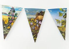Wild Flower Bunting upcycled from vintage Ladybird Book, Floral Garland, Flower Banner, Pennants £10