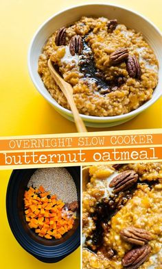 Looking for a bone-warming fall breakfast recipes that's as easy as it is tasty? This Crockpot Steel Cut Oatmeal with Butternut Squash is your answer, filling your house with the warm aroma of autumn and cooking into creamy perfection while you sleep! Low Carb Vegan Breakfast, Vegetarian Breakfast Recipes, Fall Breakfast, Brunch Recipes, Gourmet Recipes, Healthy Recipes, Breakfast Dishes, Kitchen Recipes, Recipes Dinner